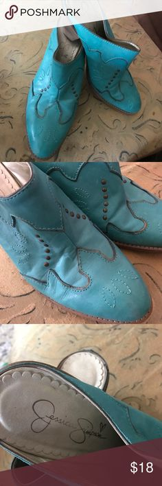 "Jessica Simpson Boot turquoise slip-ons size 8.5B Excellent condition!! Turquoise Leather/2.5-3"" boot heel Jessica Simpson Shoes Mules & Clogs"