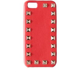 Valentino Garavani Rockstud i-Phone 5 cover (1.290 VEF) ❤ liked on Polyvore featuring accessories, tech accessories, phone cases, phone, iphone cases, cases, orange, iphone studded case, metal iphone case and iphone cover case