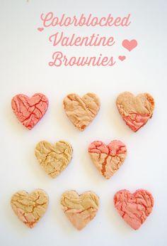 Colorblocked Valentine Brownies