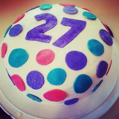 My birthday cake with polka dots in fondant and edible glitter