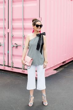 Summer outfit ideas: Black Gingham Scallop One Shoulder Top