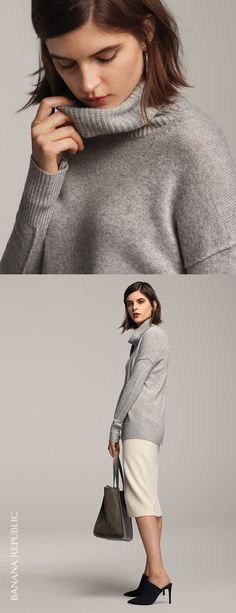 Add a cozy touch to your look with our super fine merino wool and cashmere blend turtleneck sweater. Pair this classic wardrobe essential piece with a pencil skirt and heels for a chic fall look | Banana Republic