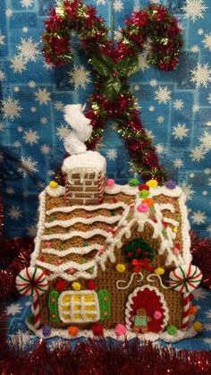 Handmade Crochet Christmas Holiday GINGERBREAD HOUSE.   Finished item found on eBay.  WOW!  For inspiration.