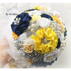 Brooch Bouquet Wedding Bridal Jeweled Navy Blue White Yellow Crystals... ($450) ❤ liked on Polyvore featuring jewelry, brooches, bouquets, decorations, grey, weddings, jeweled brooch, pearl jewellery, pearl jewelry and bridal brooch