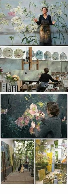 Claire Basler :: Botanical Paintings (working in an old ironworks on the outskirts of Paris). Mazur Mazur Mazur lyden - what a beautiful life/space/art Studios D'art, Design Studios, Art Amour, Illustration Art, Illustrations, Art Floral, Floral Design, French Artists, Art Design