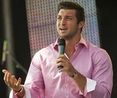 Jets QB Tim Tebow speaks at the Easter service of Celebration Church in Georgetown, Texas, on Easter weekend.
