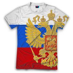 Мужская футболка с полной запечаткой Флаг и герб РФ