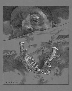 """Bite"" © Steven Russell Black 11""x14"" Prismacolor on toned paper https://www.kickstarter.com/projects/stevenrussellblack/little-black-book"