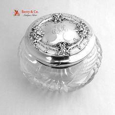 Vintage Dresser Jar Sterling Silver Cut Crystal Wallace 1910
