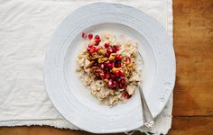 Multigrain Hot Cereal with Pomegranate Seeds and Spiced Pepita and Cashew Crunch - Bon Appétit