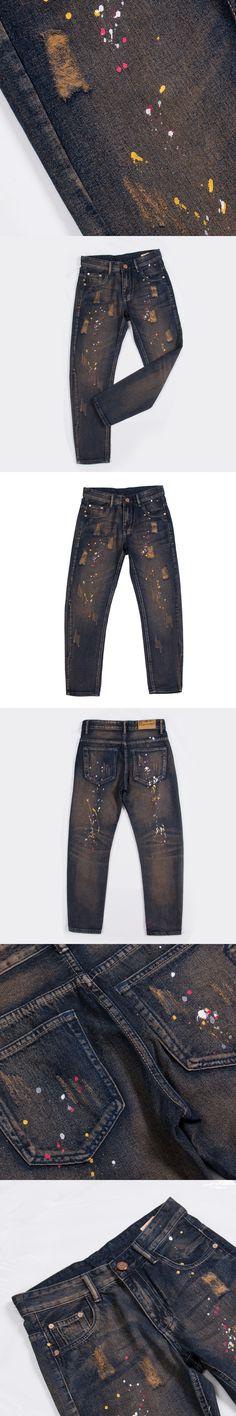 ITFABS Newest Arrivals Fashion Mens Jeans Slim Fit Straight Skinny Fit Denim Graffiti Casual Pants Biker Cool Street Jeans