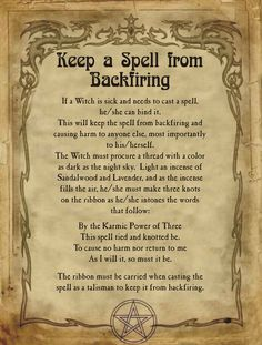Keep a Spell from Backfiring for Homemade Halloween Spell Book. Halloween Spell Book, Halloween Spells, Halloween Party, Witchcraft Spells For Beginners, Magick Spells, Summoning Spells, Wiccan Witch, Wiccan Altar, Real Witches