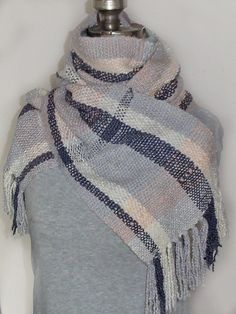 Handwoven Cotton Scarf - Hand-dyed - Blue, peach, purple, gray, natural.