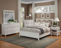Potter Panel Bedroom Set (White) Alpine Furniture in Bedroom Sets. The transitional clean simple lines of the Potter Collection by Alpine Furniture create a setting sure to please. Wooden Bedroom, White Bedroom Furniture, Bed Furniture, Furniture Design, Bedroom Decor, Furniture Layout, Furniture Stores, Coaster Furniture, Luxury Furniture