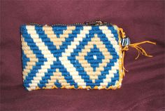 This is a detailed example of Taniko patterns,which is inspired by the idea of aramoana. The specific colours used are yellow,white and blue to create this purse. Blue And White, Yellow, Simple Designs, Coin Purse, Design Inspiration, Colours, Cleaning, Crafty, Tools