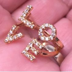 Love Ring Pave Crystals Gold Ring Size 5 &7 Avail