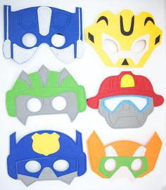Transformers Rescue Bots Characters For Children Party Favor Dress Up Lot option Transformers Birthday Parties, Superhero Birthday Party, 6th Birthday Parties, 4th Birthday, Rescue Bots Cake, Rescue Bots Birthday, Transformer Party, Bee Party, Felt Mask