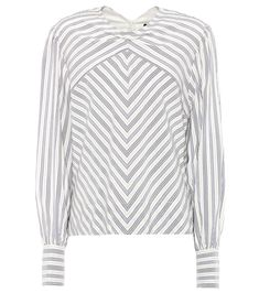 Val white and blue striped silk-blend top