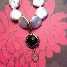 ~ Diamond Pendant Necklace ~  Champagne Diamonds, Black Onyx & Pink Chalcedony Pendant with White Freshwater Pearls $400  www.meredithjackson.com #majdesigns #necklace #pendant #jewelry #diamonds #pearls #charlotte