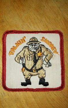 Vintage TALKIN' SMOKEY CB PATCH Sew Stitch On Trucking Ham Radio CB
