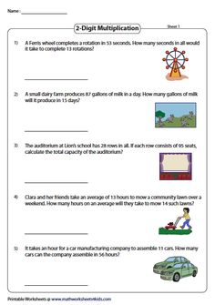 Multiplication Word Problems: Two-digit times Two-digit
