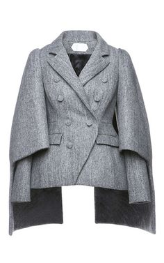 Shop Double Breasted Cape Sleeve Coat. This **Dice Kayek** coat, rendered in virgin wool, features long sleeves with cape-style overlay, a double-breasted button front, and a notched collar.