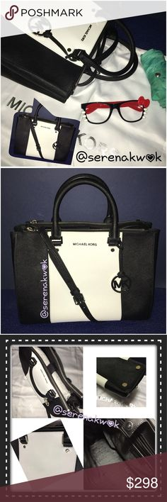 🎉Host Pick🎉 MK Large Sutton Michael Kors large Sutton that can be used daily. This bag is mainly black with a white center stripe accent on front and back. Saffiano Leather. Adjustable and removable strap. Interior has 2 top zip pockets, 1 interior zip pocket, 4 open pockets which one is for cellphone, also a strap for hooking keys and  general space has a magnetic closure. (Sutton center stripe, black optic white large leather satchel) This bag is used, but it's almost like NWT. Can…