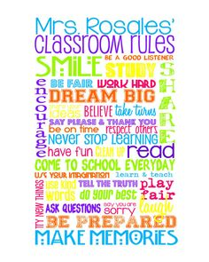 Classroom Rules for HIGH SCHOOL Classroom - Multi Color Brights - Customize with Teacher's Name - 8x10""