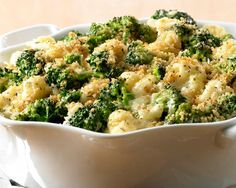 Parmesan Broccoli Cauliflower Casserole - This creamy casserole can be made a day ahead, refrigerated and then baked just before dinner. Using frozen vegetables makes this dish a cinch. Side Dish Recipes, Vegetable Recipes, Vegetarian Recipes, Cooking Recipes, Healthy Recipes, Potato Recipes, Chicken Recipes, Recipes Dinner, Healthy Food