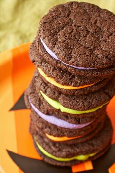 Mock oreas with colorful cream filling.