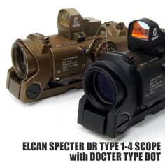 Elcan Specter DR 4x Red Illuminated Scope Reflex red dot sight Tactical Scopes, Tactical Gear, Red Dot Scope, Hunting Cameras, Red Dot Sight, Combat Gear, Rifle Scope, Red Dots, Night Vision