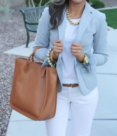 Gap Blazer, White Trouser Denim, Madewell Tote, Gold Jewelry