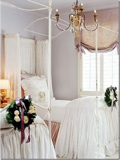 Fabulous beds and bedding.  Charming shade