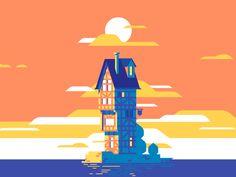 Island - Rouen poster old island house illustration Motion Design, Design Thinking, Snapchat, Design Poster, Graphic Design, Design Design, 3d Video, Gifs, House Illustration