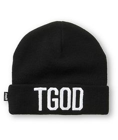 """Get a fresh new look with a white """"TGOD"""" embroidery on a black fold-over cuff with a soft acrylic design for great comfort and warmth."""