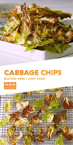 These low-carb chips will make you forget ALL about potato chips. Get the recipe at Delish.com. #recipe #easy #easyrecipes #cabbage #chips #lowcarb #lowcarbdiet #lowcarbrecipes #glutenfree