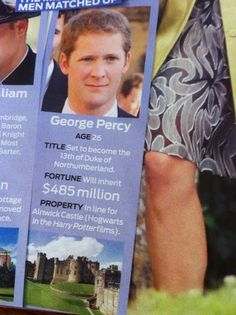 Forget Prince Harry, George Percy comes with Hogwarts. AND his name is two characters from the books...