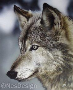 Wolf Airbrush werk op 4G karton