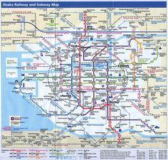 OSAKA - printable maps >>> Osaka train and subway map