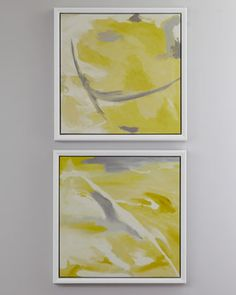 <--- Inspiration for my new project, so excited!!!  Yellow Abstract Giclees at Horchow.
