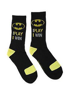 """<p>Black knit crew socks from DC Comics with <i>Batman</i> themed designs featuring logos & text that reads """"I Play I Win.""""</p>  <ul> <li>One size fits most</li> <li>97% polyester; 3% spandex</li> <li>Wash cold; dry low</li> <li>Imported</li> </ul>"""