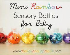 Mini Rainbow Sensory Bottles for Baby