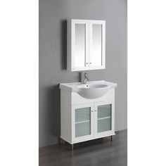 """Eviva TUX® 24"""" Inch White Bathroom Vanity with a white Porcelain Sink"""