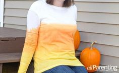 Dip-dyed candy corn T-shirt tutorial