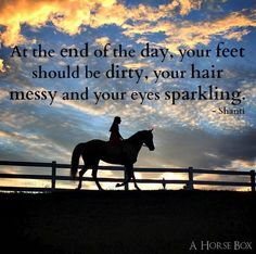 At the end of the day your feet should be dirty your hair messy and your eyes - Horses Funny - Funny Horse Meme - - At the end of the day your feet should be dirty your hair messy and your eyes sparkling. Inspirational Horse Quotes, Frases Instagram, Horse Riding Quotes, Horse Girl Quotes, Cowgirl Quote, Cowboy Sayings, Horse Sayings, Girl Sayings, Equestrian Quotes