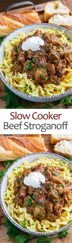 A homestyle comfort food pot roast take on beef stroganoff using slowly braised fall apart tender beef which is smothered in a super tasty umami packed mushroom onion paprika and sour cream sauce! Crockpot Dishes, Crock Pot Slow Cooker, Crock Pot Cooking, Beef Dishes, Pressure Cooker Recipes, Crockpot Recipes, Cooking Recipes, Pasta Dishes, Penne Recipes