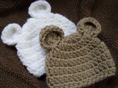 Crochet Baby Teddy Bear hat - you choose color - Free Shipping