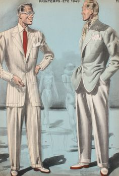 Men's fashion plate, 1940s, showing two dapper gentleman in casual summer suits, ties and sunglasses
