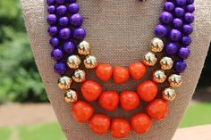 Peach Roots - Libby Purple and Orange Game Day Necklace, $27.00 (http://peachroots.com/libby-purple-and-orange-game-day-necklace/)