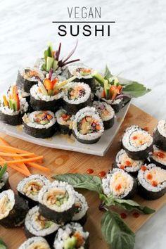 Healthy Vegan Sushi: rainbow roll, spicy cauli, teriyaki mushroom. My fave is the spicy cauli!